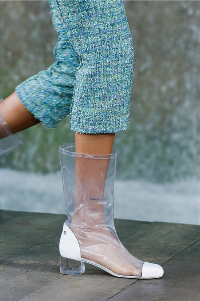 TONGO FRENCH STYLE BAOTOU TRANSPARENT SEQUINED TOE BOOTS - boopdo