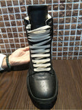 BOOXIE CHUNKY LACE UP HIGH TOP FAUX LEATHER BOOTS