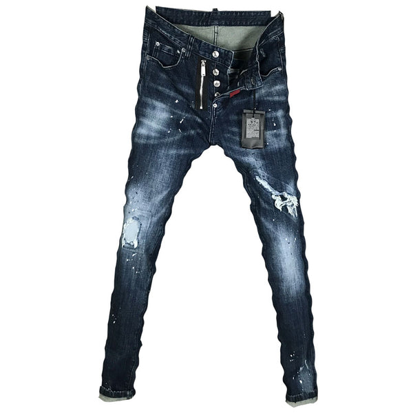 DSQ TWUP LOW WAIST RIPPED DENIM JEAN PATCH PANTS IN NAVY - boopdo