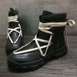 TINMARX THICK PLATFORM CROSS LACE UP UNISEX BOOTS - boopdo