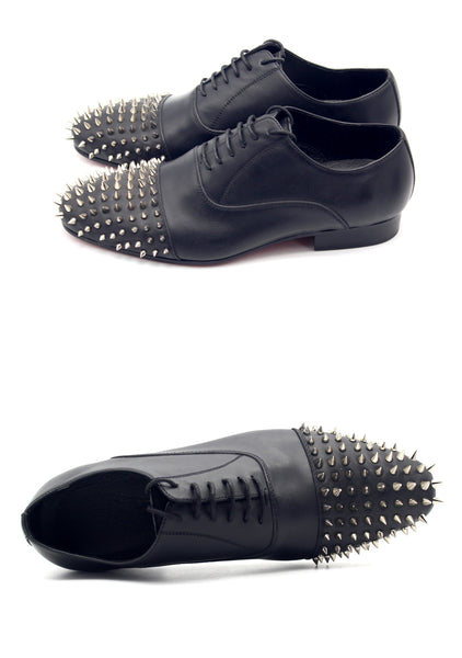 JINIWU VANGUARD JINI OXFORD SHOES IN BLACK WITH RIVET