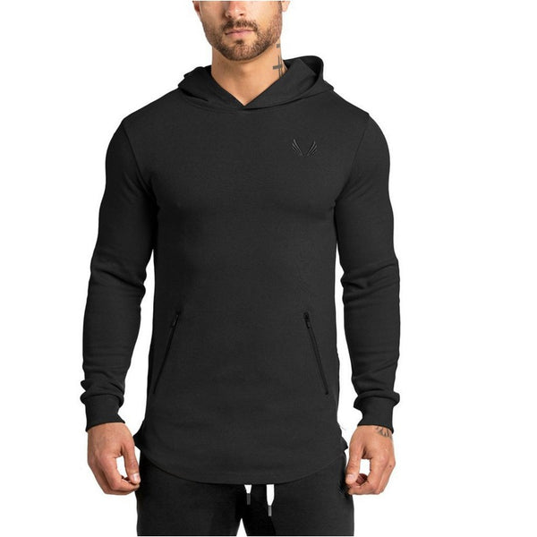 MR MUSCLE GYM FITNESS GYM THIN HOODED PULLOVER SWEATSHIRT - boopdo