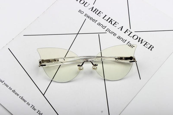 CAT EYE FLAT MIRROR PEARL NOSE SUPPORT SUN GLASSES RADIATION BLUE LIGHT - boopdo