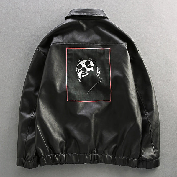BOXCI THREE DIMENSIONAL PATCH POCKET PU LEATHER JACKET - boopdo