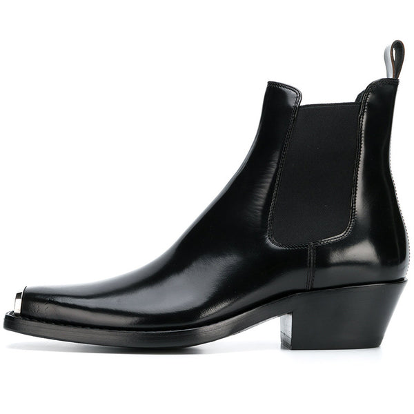 METCOXIE SQUARE TOE BLACK HANDMADE LEATHER CHELSEA BOOTS - boopdo