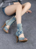BOOPDO INSTA DESIGN WASHED DENIM OPEN TOE HIGH HEEL SANDALS IN SKY BLUE - boopdo