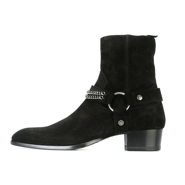 TREXY UNITED FROSTED CHAIN TOE POINTED CHELSEA BOOTS - boopdo