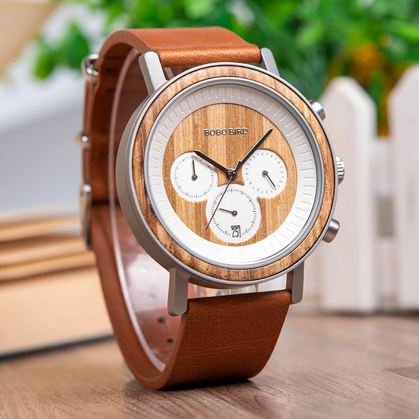 BOBO BIRD HANDMADE CHRONOGRAPH WOODEN WATCH WITH LEATHER STRAP