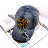 Chunglim Army Applique Embroidery Old Vintage Curved Caps In Denim Color