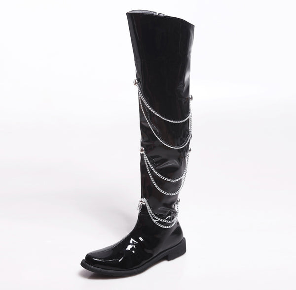 BUCKHEN BRITISH POLEX OVER THE KNEE BOOTS IN BLACK WITH CHAIN