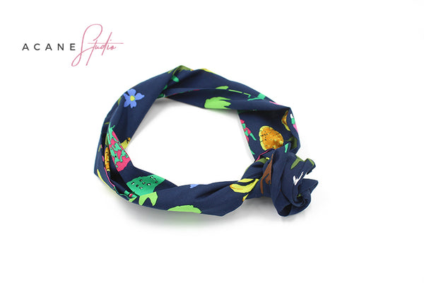 ACANE STUDIO RETRO TROPICAL PRINT HAIR BAND DARK BLUE - boopdo