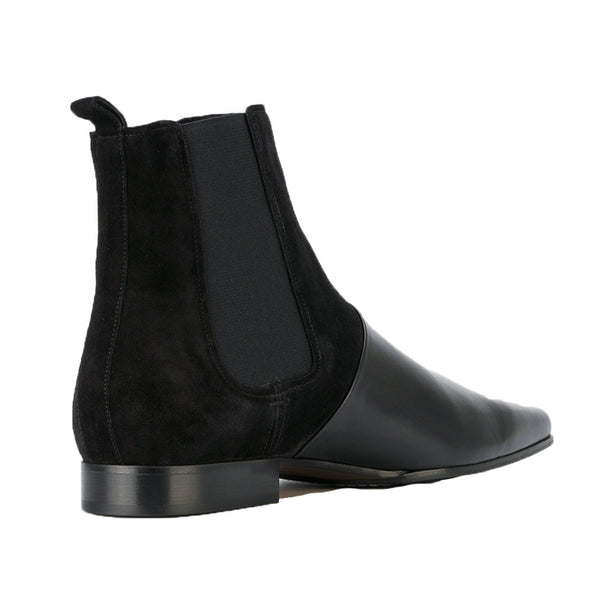 BOOPDO DESIGN RETRO LEATHER GOLD BLACK ANKLE CHELSEA BOOTS