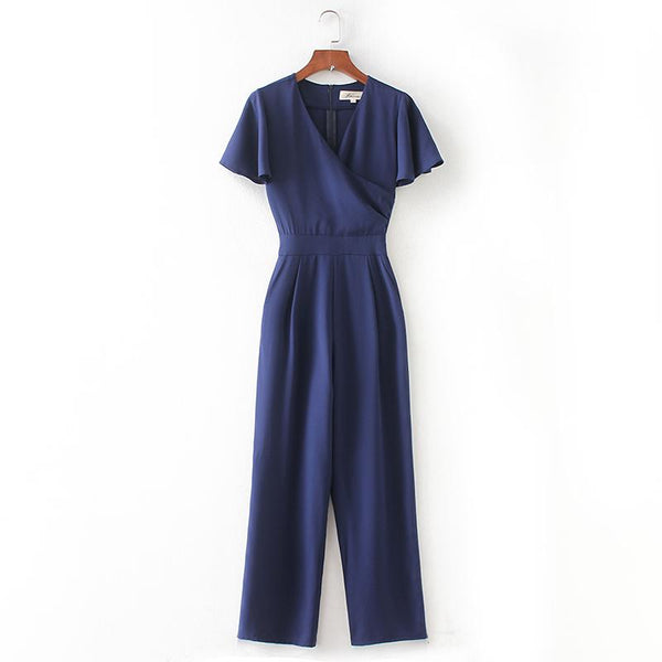 SASHA FRENCH DOLLS WRAP OVER JUMPSUIT IN NAVY
