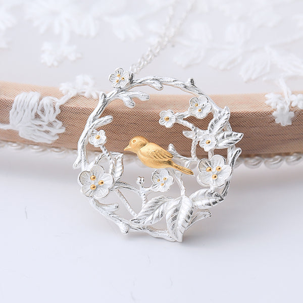 SILVER OF LIFE 925 SILVER NECKLACE WITH VINTAGE STYLE GOLD PLATED BIRD - boopdo