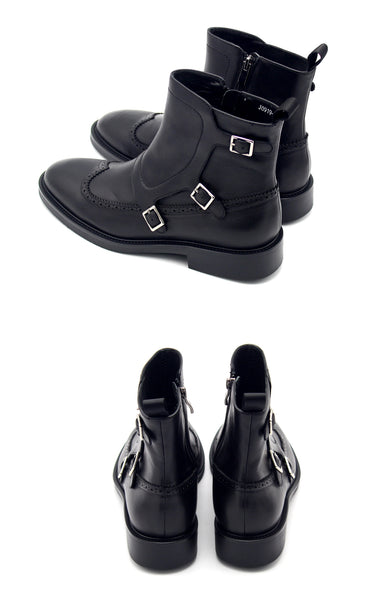 JINIWU VANGUARD MENGKE SIDE ZIPPER LEATHER BOOTS WITH BUCKLE IN BLACK
