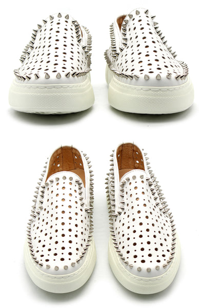 JINIWU VANGUARD PERFORATED BREATHABLE LEATHER SHOES WITH RIVET - boopdo