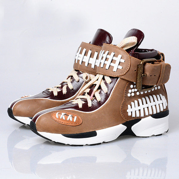 PROVAPERFETTO VINTAGE LOOK CHUNKY SOLE LEATHER TRAINERS150289 LIGHTBROWN MAROON BROWN - boopdo