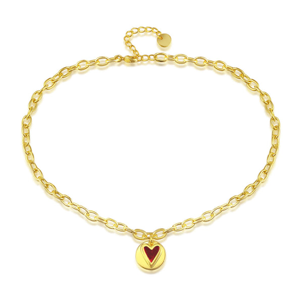 JELLY GIRL PREMIUM GOLD PLATED HAMMERED CHAIN NECKLACE IN GOLD TONE - boopdo