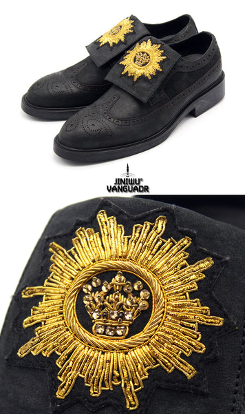 JINIWU VANGUARD INDIAN HANDMADE SUN MEDALLION DIAMOND VELCRO LEATHER SHOES IN BLACK - boopdo