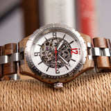 BOBO BIRD MIYOTA JAPAN MECHANICAL DIAMOND STAINLESS STEEL LUMINOUS WOODEN WATCH - boopdo
