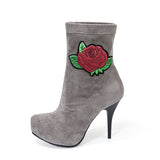 LOXPIA FLANNEL ANKLE HIGH HEEL BOOTIES - boopdo