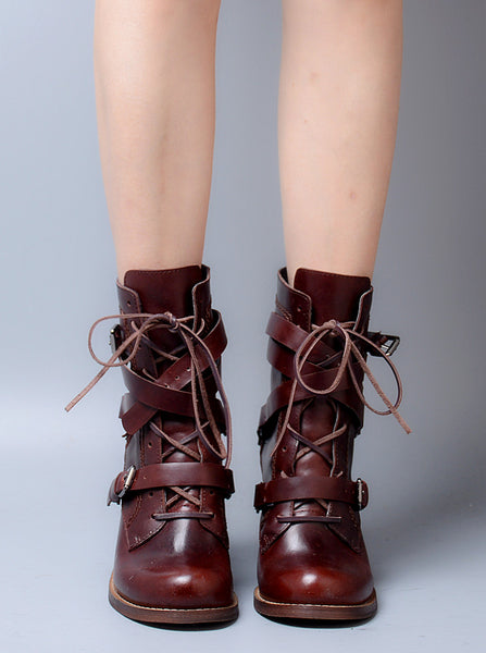 PROVAPERFETTO BUCKLE HEELED ANKLE BOOTS WITH LACE UP DETAIL1040999 - boopdo