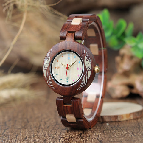 BOBO BIRD WOODEN ANCIENT RETRO WATCH WITH VINTAGE STRAP