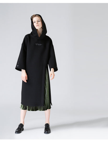 TOYOUTH SIDE SPLIT HOODIE DRESS IN BLACK 8732411011 - boopdo