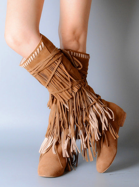 PROVAPERFETTO SUEDE TASSEL DETAIL SIDE LEG KNEE BOOTS - boopdo