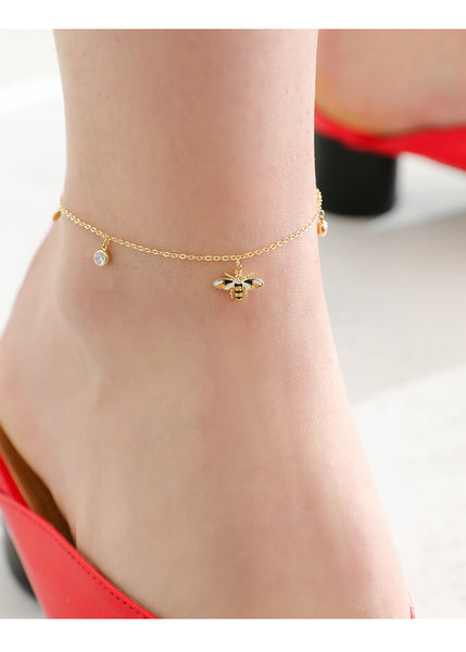 ZEGL GOLD PLATED BUMBLE BEE ANKLET - boopdo