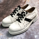JINIWU VANGUARD BRITISH STYLE THICK SOLED LEATHER SHOES IN BLACK WHITE