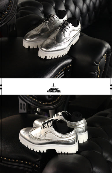 JINIWU VANGUARD HANDMADE BRITISH BROCK DESIGN LEATHER PLATFORM SHOES IN SILVER