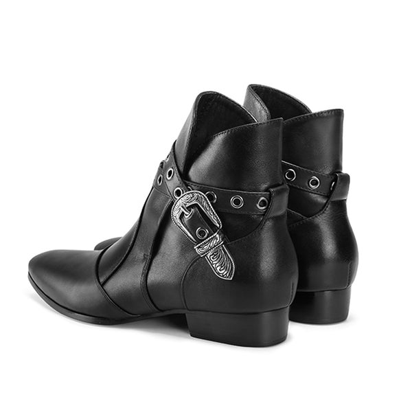 NADEMILI HORSE BIT BUCKLE HANDMADE LEATHER TOE POINTED CHELSEA BOOTS - boopdo