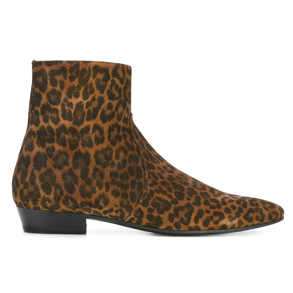 UNITED EURAX LEOPARD CHEER WEST ANKLE CHELSEA BOOTS - boopdo