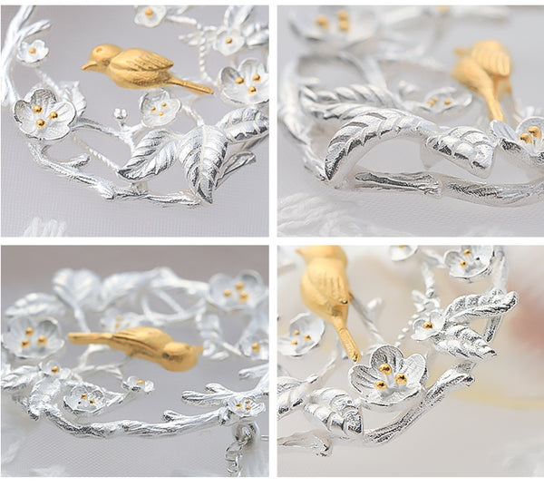 SILVER OF LIFE 925 SILVER NECKLACE WITH VINTAGE STYLE GOLD PLATED BIRD