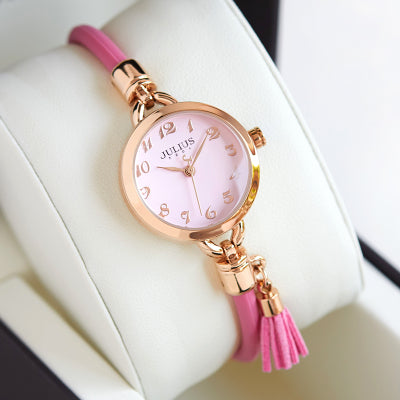 JULIUS METAL BRACELET BAND WATCH WITH TASSEL - boopdo