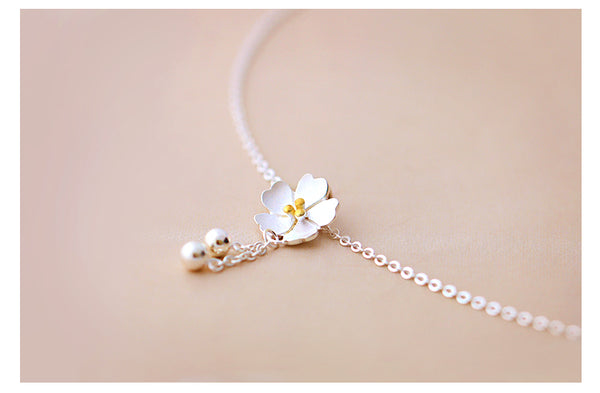 SILVER OF LIFE 925 CHERRY BLOSSOMS SILVER NECKLACE