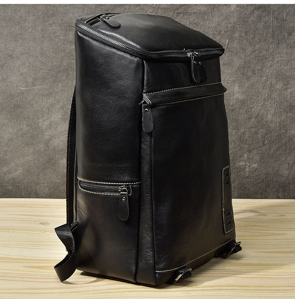 TWENTY FOURTH STREET LARGE CAPACITY 15.6 INCH LEATHER TRAVEL BACKPACK IN BLACK - boopdo