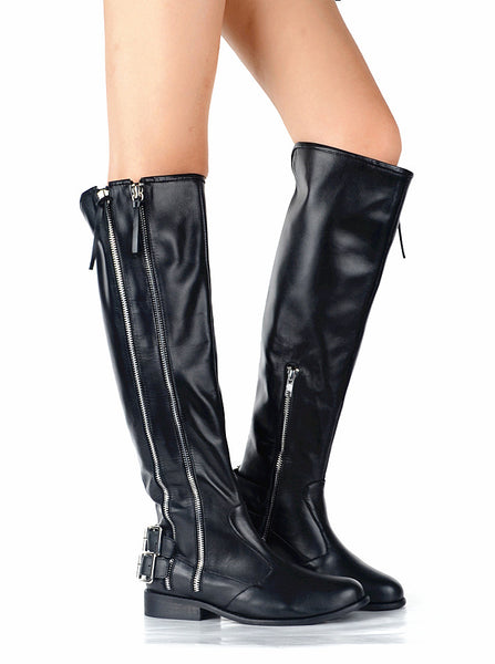 PROVAPERFETTO ZIP DETAIL KNEE HIGH RIDING BOOTS IN BLACK 130501L3 - boopdo