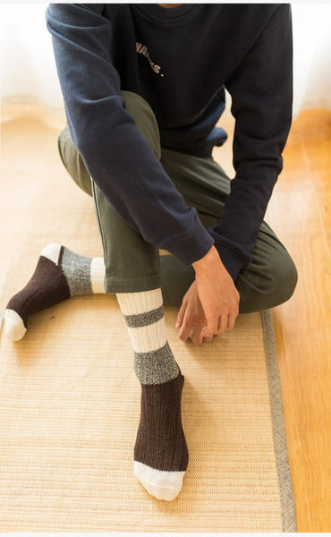 ACALEN WOOL BLEND SOCKS WITH RETRO WIDE STRIPE FOUR PACK - boopdo