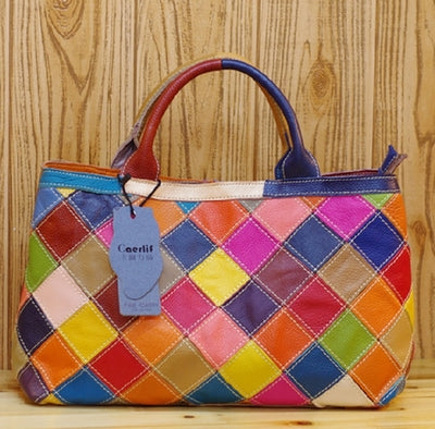 CAERLIFAB PAPDO SQUARE LEATHER HANDBAG IN BLACK AND MULTI COLOR
