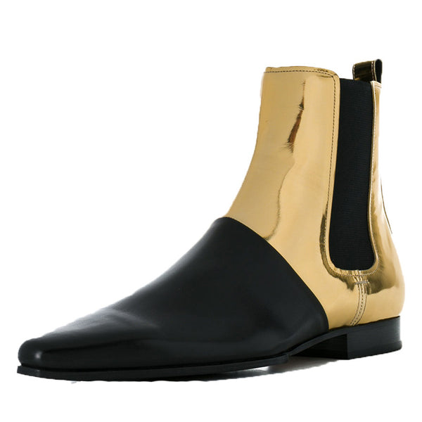 BOOPDO DESIGN RETRO LEATHER GOLD BLACK ANKLE CHELSEA BOOTS - boopdo