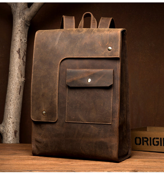 MANTIME VINTAGE SQUARE OUTDOOR 14 INCH LEATHER BACKPACK IN BROWN BLACK