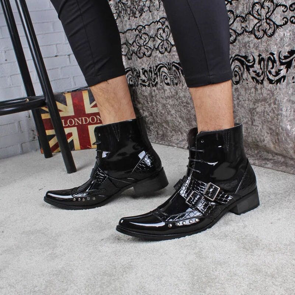 RODEO CAMPO BUCKLE MID HEEL POINTED TOE LEATHER BOOTS IN BLACK - boopdo
