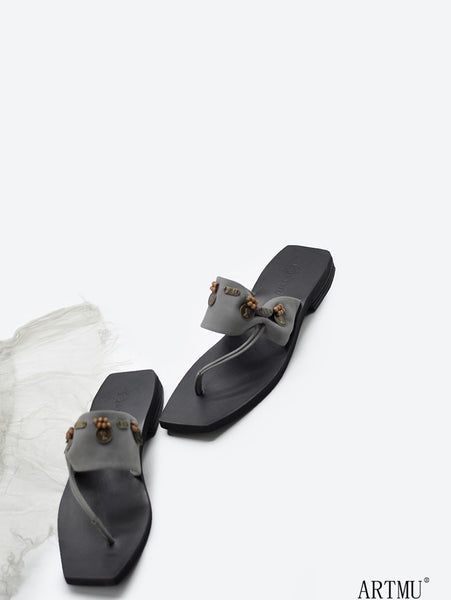 ARTMU EMBROIDERED LEATHER TOE POST SANDALS
