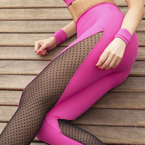 ZUMBA GIRLS MESH POLKA DOT PANEL LEGGINGS IN PINK