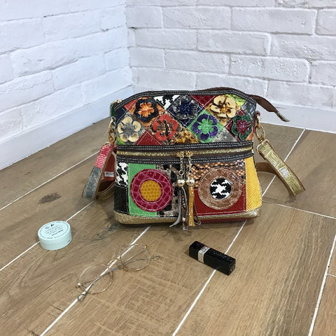 CAERLIFAB BOOPDO PATCHWORK SNAKE LEATHER WOMEN BAG IN MULTI COLOR