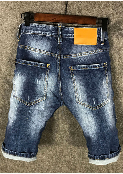 AMOI DSQTWUPS RIPPED DENIM JEAN SHORT PANTS IN BLUE