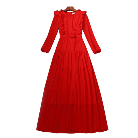 BBL DESIGN PLEATED WAISTED MAXI DRESS IN RED