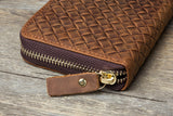 MANTIME SIXTEENTH WOVEN EMBOSSED MOBILE PHONE LEATHER WALLET IN BROWN - boopdo
